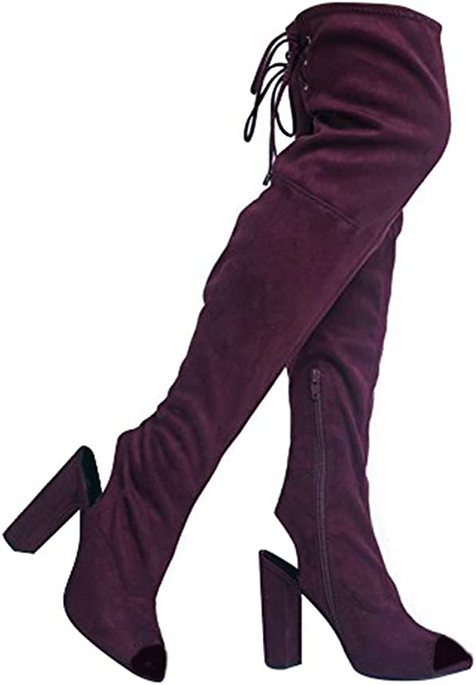 ZooShoo Faux Suede Peep Toe - Up Genuine High Thigh Lace Closure Sale item Zipper