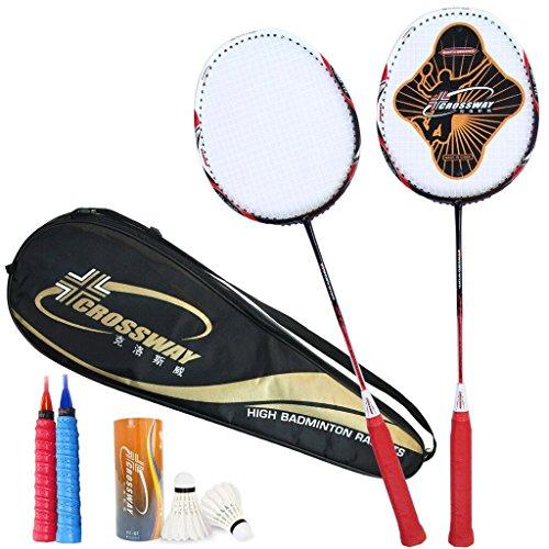 HLD 2 Loaded mit Carbon Badminton Schläger Double Shot Zwei Loaded Badminton Schläger (Color : B)