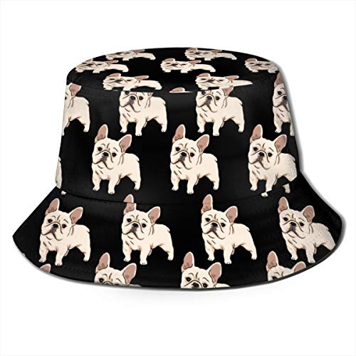 Unisex Outdoor Bucket Hats Wide Brim Sun Protection Fisherman Caps with Cute French Bulldog Patterns