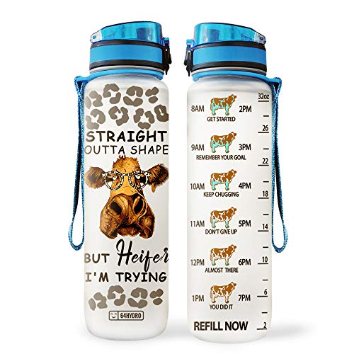 64HYDRO 32oz 1Liter Motivational Water Bottle with Time Marker, Cow Lover Straight Outta Shape but Heifer I'm Trying HLA0808009 Water Bottle