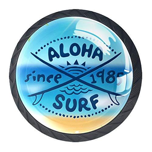 OLEEKA Tirador de manijas de cajón Perillas Decorativas del gabinete del cajón Manija del cajón del tocador 4 Piezas,Logotipo de Vector de Surf Aloha