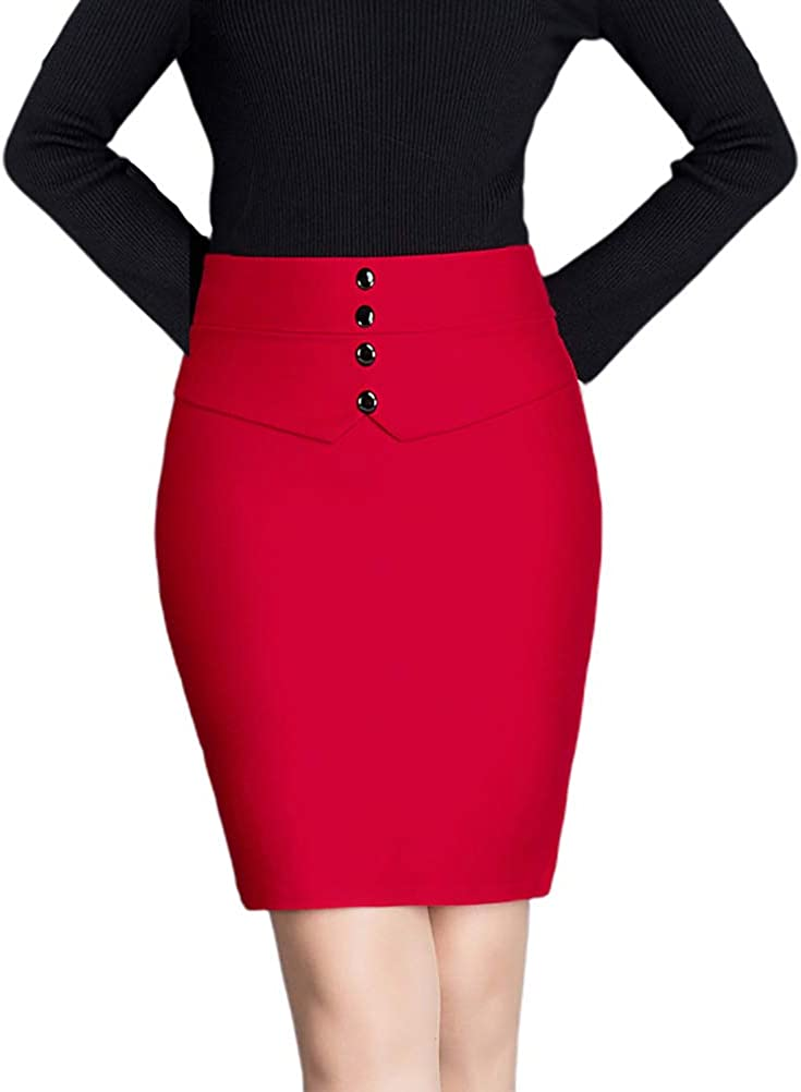 Nanxson Women' Business Elastic Hips-Wrapped Slim Skirts Suit Wear to Work Pencil Skirt CFW2010