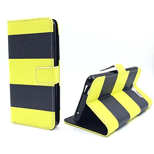 König Design Handyhülle Kompatibel mit ZTE Blade L3 Handytasche Schutzhülle Tasche Flip Hülle mit Kreditkartenfächern - Gelb Schwarz