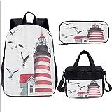 Backpack Set, Lighthouse, for Girls Elementary Bookbag, 17 inch