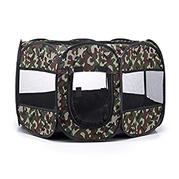 Tineer Portable Pet Cat Cage pour Chien Niche Chenil Tente Lit Parc d'enfant Camping de Plein air Pliable Maison de Caisse de Chien de Voyage Playpen (S:72×72×45cm, Vert Camouflage)