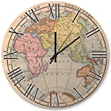 A37mieeooopa Old Color map of The Eastern Hemisphere from 1870 sea - 16 Inch Round Wood Decorative Hanging Wall Clock for The Living Room, Kitchen, Kids Bedroom and Office - Silent
