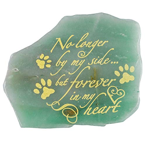 rockcloud Green Aventurine Pet Dog/Cat Memorial Stone Tombstone Headstone Gravestone Grave Marker Hand Craved Healing Crystal for Condolence Bereavement, 2.76-4.33 inches