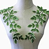 Green Lace Motif Forest Leaves Sew on AppliqueTrims Embroidery Vine Decorative Patches for Costume Craft Projects 1 Pair