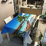 Yqgdss Cocotero En La Playa Manteles Rectangulares Resistentes Al Agua Y Al Aceite Los Manteles Impresos En 3D Se Pueden Limpiar Y Son Fáciles De Limpiar 120x120cm
