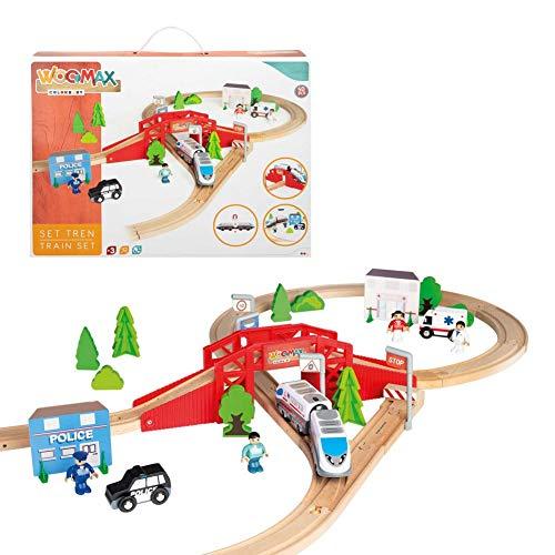 WOOMAX- Circuito Tren de Madera 50 Piezas (ColorBaby 46444)