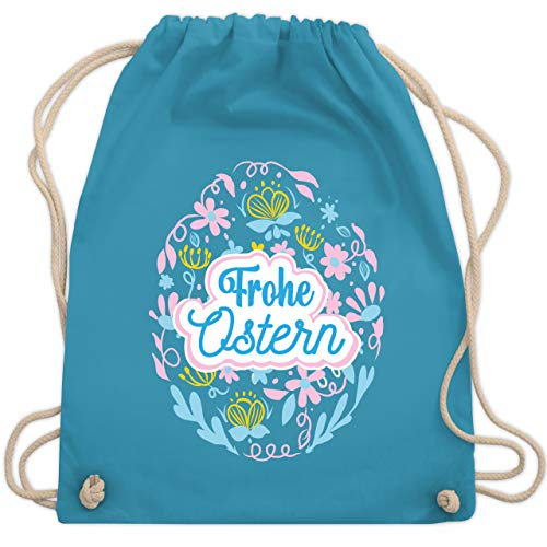 Shirtracer Ostern Kinder - Frohe Ostern - Ei - Unisize - Hellblau - Geschenk - WM110 - Turnbeutel und Stoffbeutel aus Baumwolle