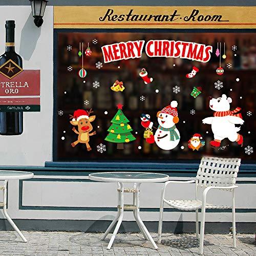 WARMWORD_Navidad Santa Vinilos Vinilo Removiblevacaciones DecoracióN Caricatura Arbol NiñO Habitacion Decoracion Vidrio...