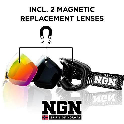 NGN - Occhiali da Sci/Snowboard con Protezione UV e Sistema di Cambio Magnetico, a Specchio, per Uomo e Donna, Anti-Appannamento, compatibili con Casco (Stripes)
