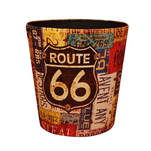 Papierkorb, FOKOM Vintage Retro Klassisch Papierkorb Büro Mülleimer Abfalleimer PU Leder Papierkorb Trash Bin ohne Deckel-66 Route