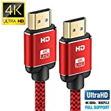 4K HDMI Kabel 2Meter, Snowkids HDMI 2.0 High Speed 18Gbps 4K@60Hz Nylon Geflechtkabel, vergoldete Anschlüsse mit Ethernet/Audio Rückkanal, kompatibel mit Video 4K UHD 2160p, HD 1080p, 3D Xbox PS4