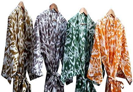 Jaipurstudio Cotton Printed Kimono,Cotton Bath Robe ,Maxi Dress,Bridemade kimono 5 piece lot