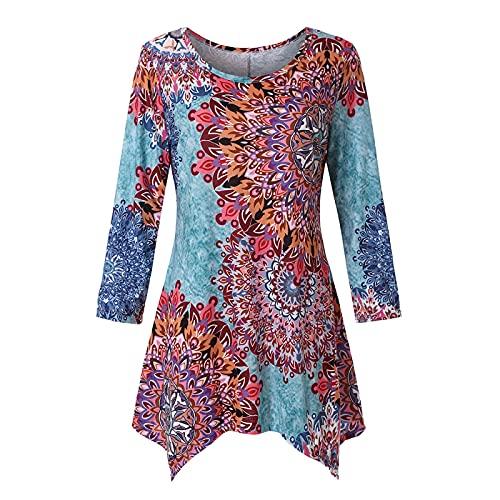 Camiseta Estampada - Flores Irregulares Retro Que Imprimen Las Mujeres Top Clothing...