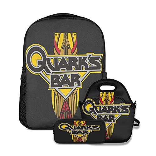 Quark's Bar Teens Boys Girls Mochila escolar casual con caja de almuerzo aislada caja de lápices 3 piezas Set bolsas