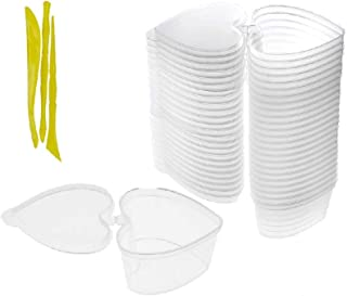 simuer 24 Pack Slime Containers with Lid, Heart-Shaped Storage Box Clear Plastic Storage Jar with Lids for DIY Slime with 3PCS Tools