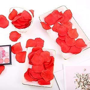falllea 5000 Piezas de Petalos de Flores Artificiales Petalos de Rosa Rojas Confeti de Rosas Artificial Romántica Petalos de Rosa para Bodas Decoración Día de San Valentín