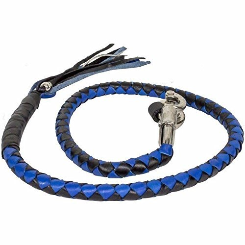 BIKER BLACK & BLUE 42' PURE LEATHER GET BACK WHIP MOTORCYCLE WHIP OLD SCHOOL NEW (BLACK & BLUE, 42 INCHES)