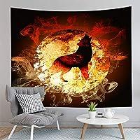 HYTGD-多機能壁掛け動物オオカミタペストリー黒ハンギング壁布ホーム寮部屋アート背景装飾毛布