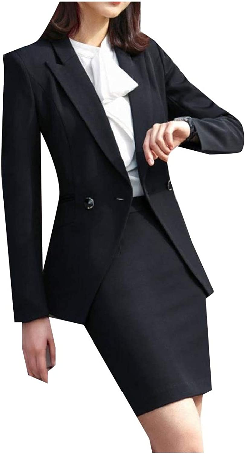 Andopa Womens Buttonup Office FoldCollar Blazer and Skirt Suit Set