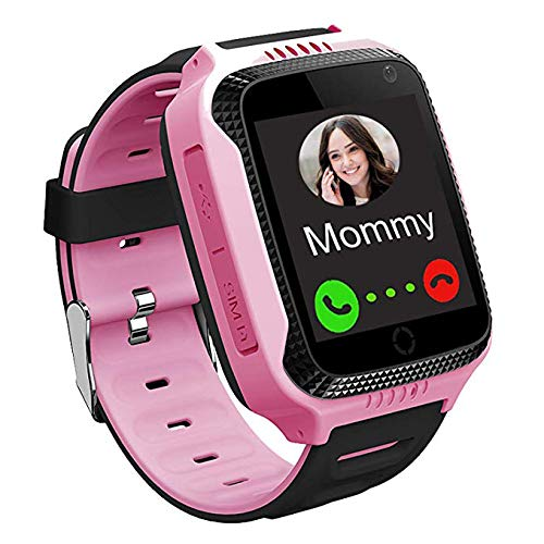 PTHTECHUS GPS Kinder Smartwatch Telefon - Touchscreen Kinder Smartwatch mit Anruf Sprachnachricht SOS Taschenlampe Digitalkamera Wecker, Geschenk für Kinder Junge Mädchen Student Pink