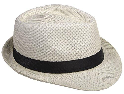 Strohhut Panama Fedora Trilby Gangster Hut Sonnenhut mit Stoffband Farbe:-Champagner (Strohhut) Gr:-58