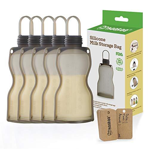 Haakaa Silicone Milk Storage Bag (5 Count),Reusable Breast Milk Bags for Breastfeeding,Food Grade Silicone,BPA Free,9 oz/260 ml