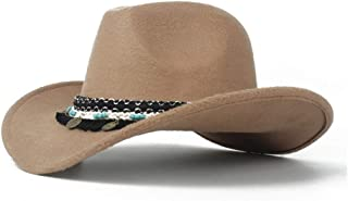 PengCheng Pang Men Women Authentic Western Cowboy Hat with Tassel Ribbon Winter Outdoor Hat Wide Brim Fascinator Hat Size 56-58CM (Color : Khaki, Size : 56-58)
