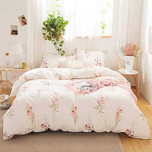 Merryword Offwhite Floral Bedding Pink Flowers Duvet Cover Set Pink Lavender Flowers Printed Design Off White Country Style Bedding Sets Queen 1 Duvet Cover 2 Pillowcases (Queen, Offwhite)
