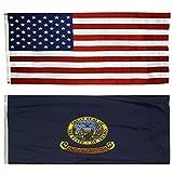 CollinsFlags US Flag with Idaho State Flag 3 x 5-100% American Made - Nylon