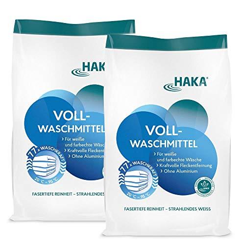 HAKA Vollwaschmittel I 2 x 3kg Waschpulver I Universalwaschmittel für weiße, farbechte Textilien I 77 Waschladungen pro Beutel