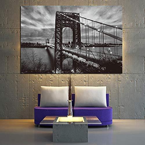 wZUN Nueva York Puente de Brooklyn Carteles e Impresiones en Blanco y Negro Paisaje Arte Lienzo Pintura Abstracta Cuadro de Pared de Sala de Estar 60x90 Sin Marco