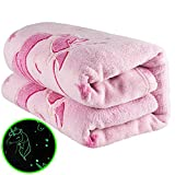 Urban Souq, Unicorn Blanket, Glow in The Dark Blanket, Soft Pink Fleece Throw for Girls, Light up Glowing Unicorns, Queen Size 60x80 Bed, Couch or Travel Comforter