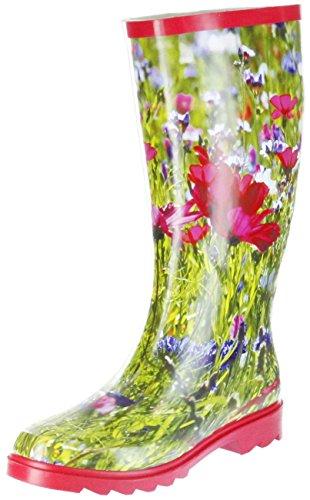 ConWay Gummistiefel rot Regenstiefel Damen Stiefel Schuhe Blumenwiese, Größe:38 EU, Farbe:rot