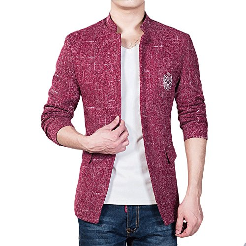 YOUTHUP Herren Freizeit Causual Tweed Blazer Sakko Business Hochzeit Slim Fit 1 Knopf Kurzmantel