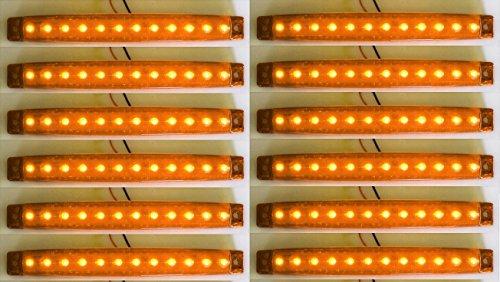 10 x 24 V longues LED Face avant Orange Ambre Feux de gabarit lamps socle basculant pour châssis de camion remorque caravane Camper
