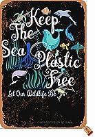 海のプラスチックを無料に保つ私たちの野生生物を鉄にしましょう20X30CMヴィンテージルックデコレーションアートサインホームキッチンバスルームファームガーデンガレージインスピレーションを与える引用壁の装飾