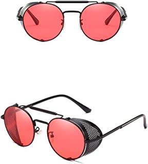 Nuni Metal Frame Fold-in Mesh Side Shield Oval Sunglasses