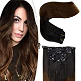 LaaVoo 55cm 7Pcs Extensiones Cabello Humano Clip Extensiones Pelo Natural Brown Clip in Hair Extensiones Cabello Humano Natural Negro Ombre Castano Clip on Human Hair Extensions Straight 120G