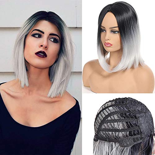 Feelgrace Short Bob Wig Middle Part Soft Synthetic Hair for White Black Women Straight Short Bob Wigs Two Tone Ombre Color 1B/White