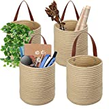 TomCare 4 Pack Hanging Baskets Wall Basket 7.9' x 6.7' Small Woven Storage Baskets Jute Woven Hanging Storage with Leather Handles Small Decorative Baskets Organizer for Plants Kitchen Office Bedroom