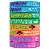Sainstone 4-Pack Silicone Motivational Wristbands, Rubber Inspirational Quote Bracelets - Dream, Inspire, Create, Believe for Kids Boys & Girls Scout Birthday Party Cheer Gifts Favors Color (Ladies)