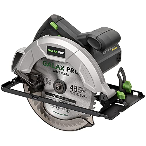 GALAX PRO Circular Saw 10A 5800 RPM Hand-Held, Bevel Angle(0 to 45°) Joint Cuts with 7-1/4 Inch Blade, Adjustable Cutting Depth (1-5/8