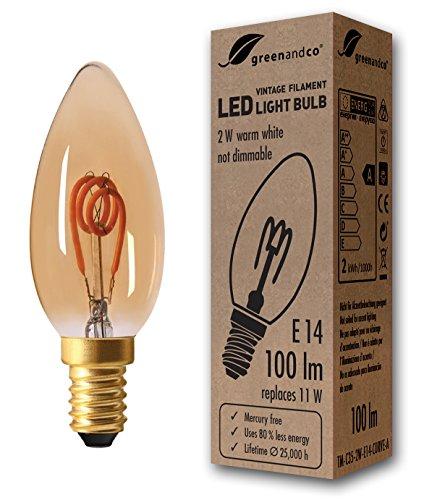 greenandco® Vintage Glühfaden LED Kerze ersetzt 11W E14 2W 100lm 2000K extra warmweiß 360° 230V flimmerfrei, nicht dimmbar, 2 Jahre Garantie