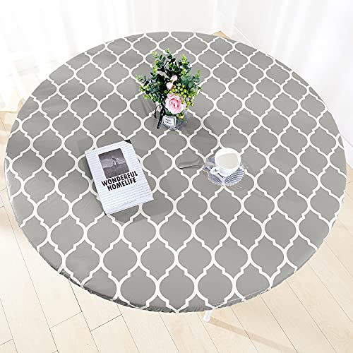 Heavy Duty Vinyl Round Fitted Tablecloth, Gray Moroccan Design, Spillproof Waterproof Elastic Table Cover with Flannel Backed Lining, Fits 45' to 56' Round Table, for Indoor/Outdoor Use