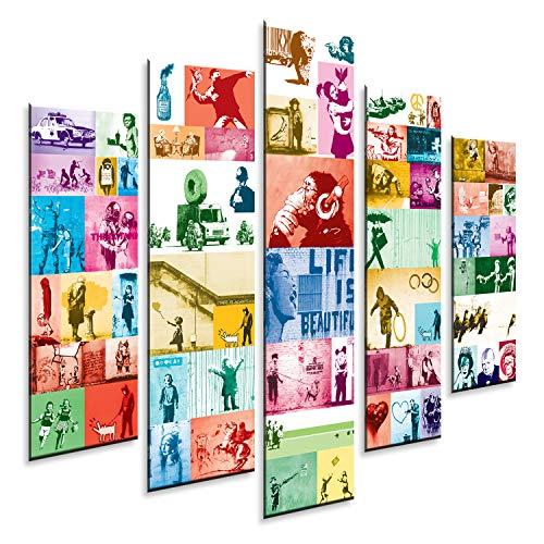 Giallobus - Pintura de Paneles múltiples 5 Piezas - Bansky Collage 2 Color - Impresión en forex con Efecto de Relieve - Listo para Colgar - 140x100 cm