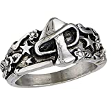 Mushroom Rings For Women, Cute Gothic Punk Star Flower Mystic Fashion Jewelry Vintage Stainless Steel Leaf Band Silvery Cool Ring For Men Best Friend Gift 6#
